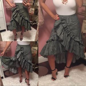 Ruffle Black & White Striped Skirt